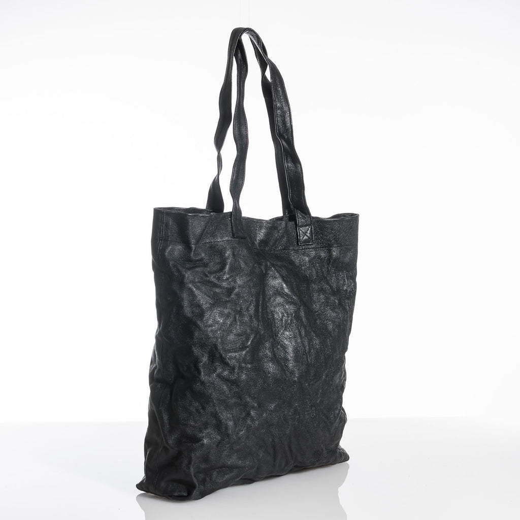 Black Crushed Leather Tote