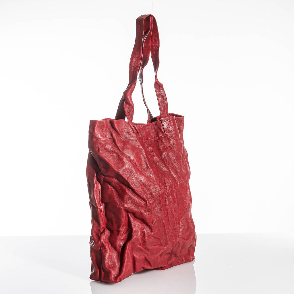 Cherry Red Crushed Leather Tote