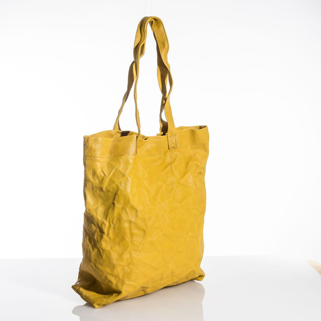 Yellow Crushed Leather Tote