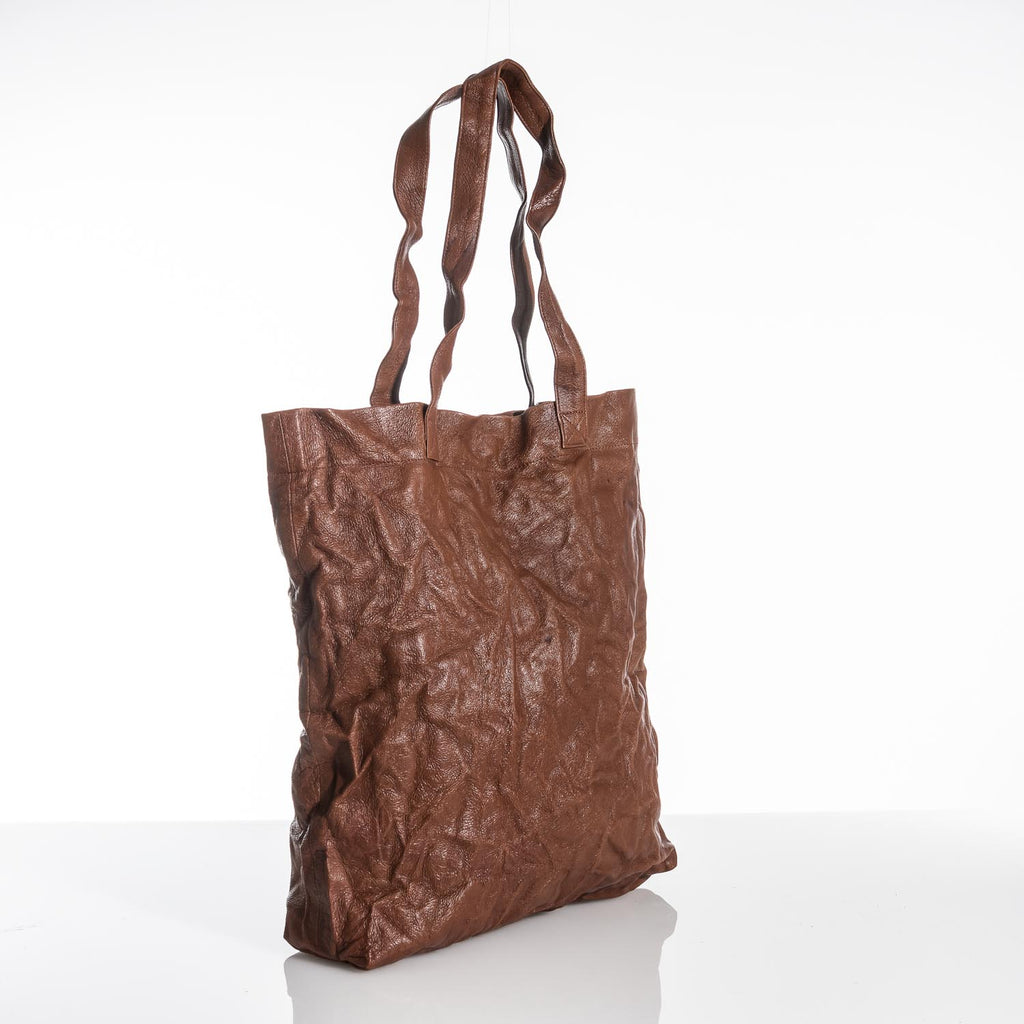 Brown Crushed Leather Tote