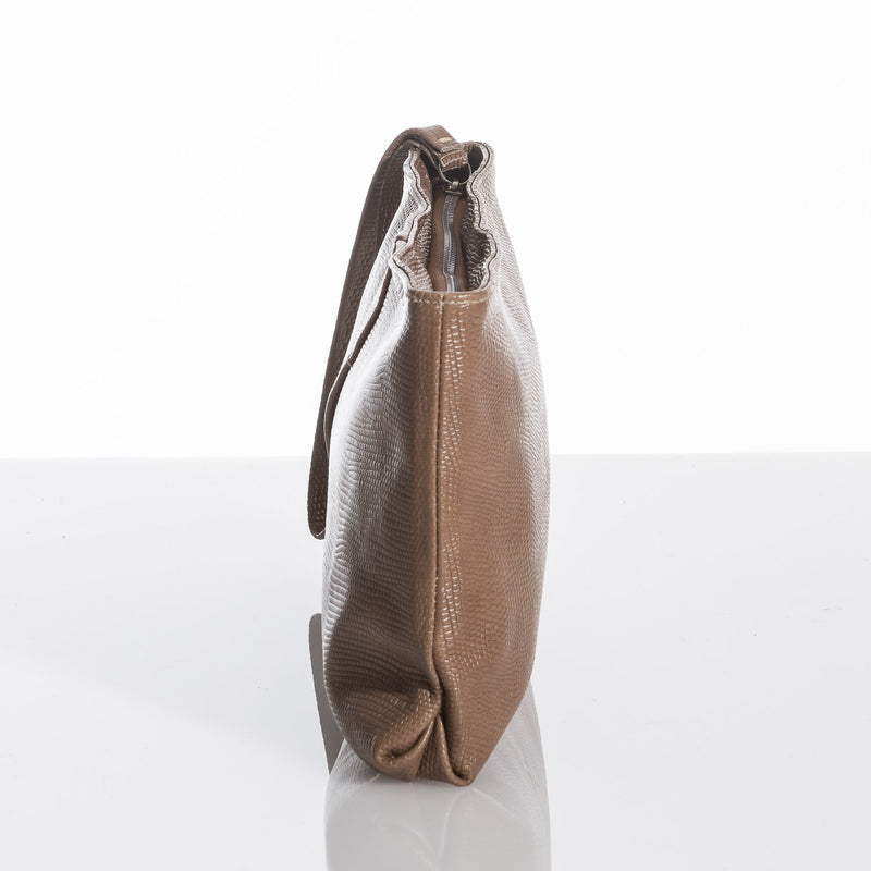 Brown Madelen Leather Clutch