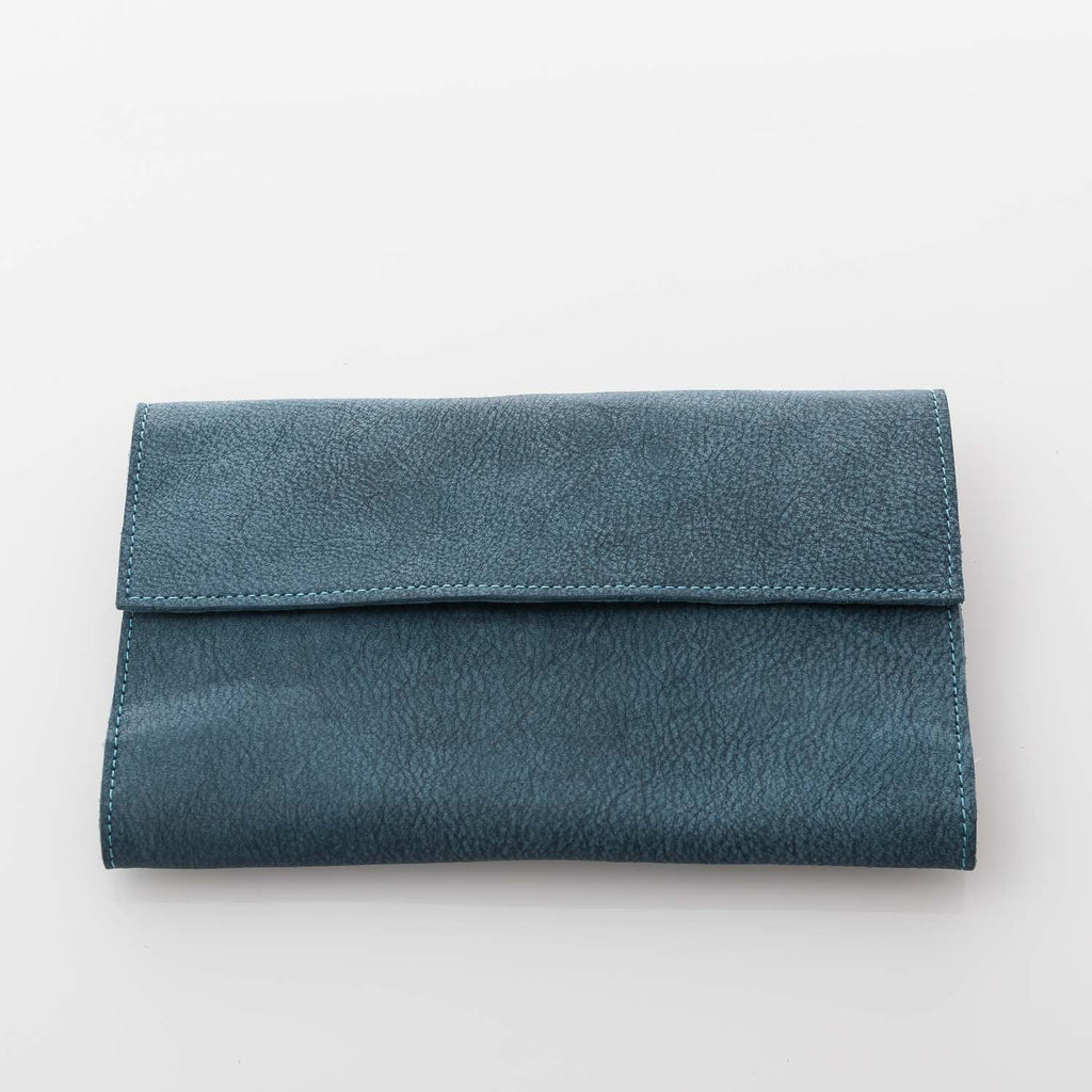 Cambridge Blue Trifold Leather Wallet