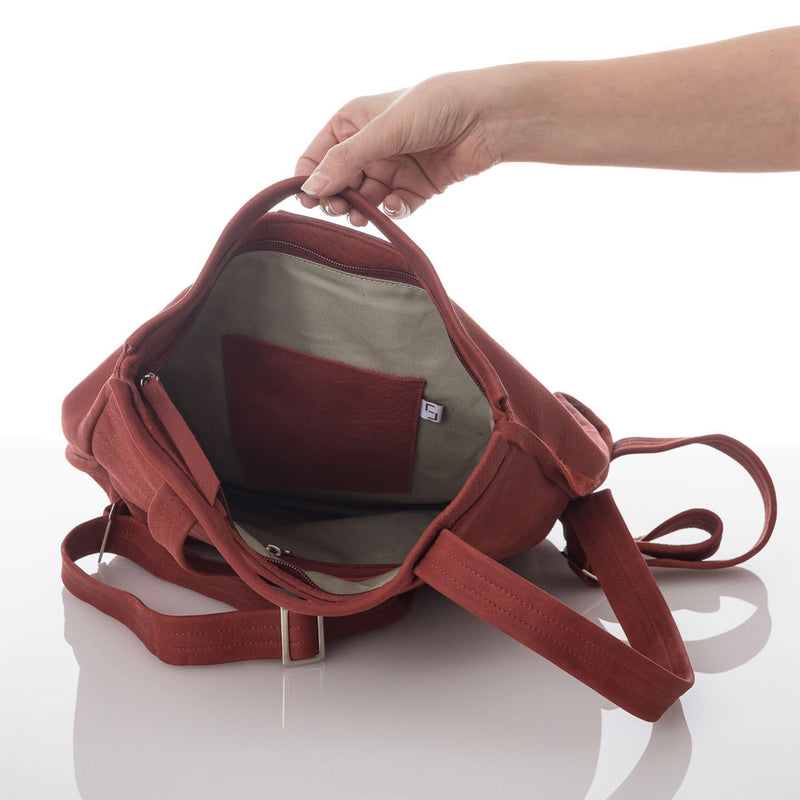 Cherry Red Flora Fold Leather Backpack