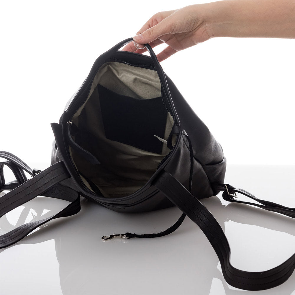 Black Flora Fold Leather Backpack