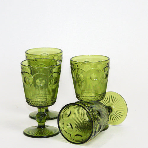 Large Emerald Deco Glasses