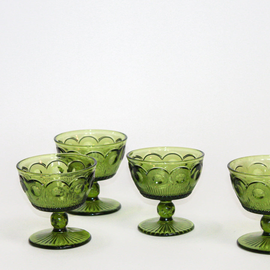 Vintage Emerald Deco Sorbet Glasses
