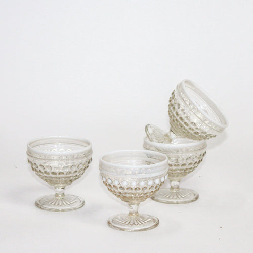 Vintage Opalescent Hobnail Glasses - Set of 2