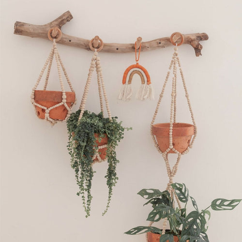Wood Beaded Plant Hanger