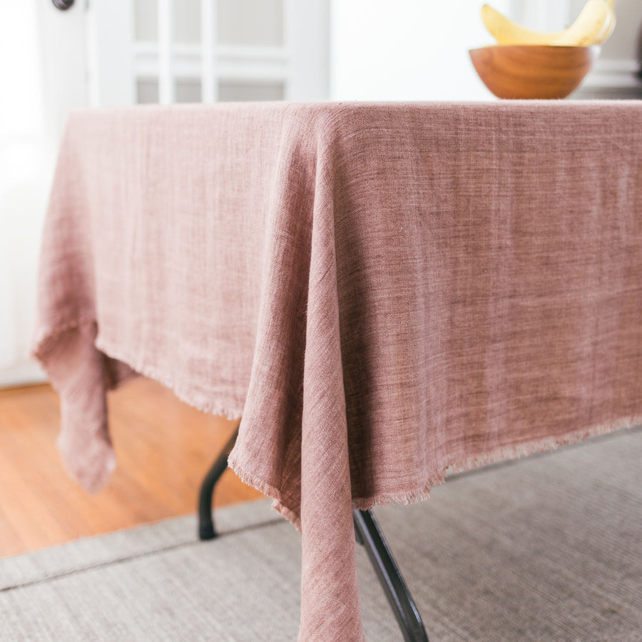 Stonewashed Linen Throw in Ash Rose