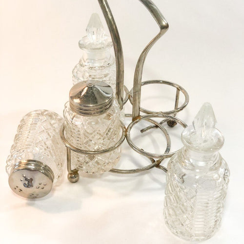 Vintage English Crystal Cruet Set