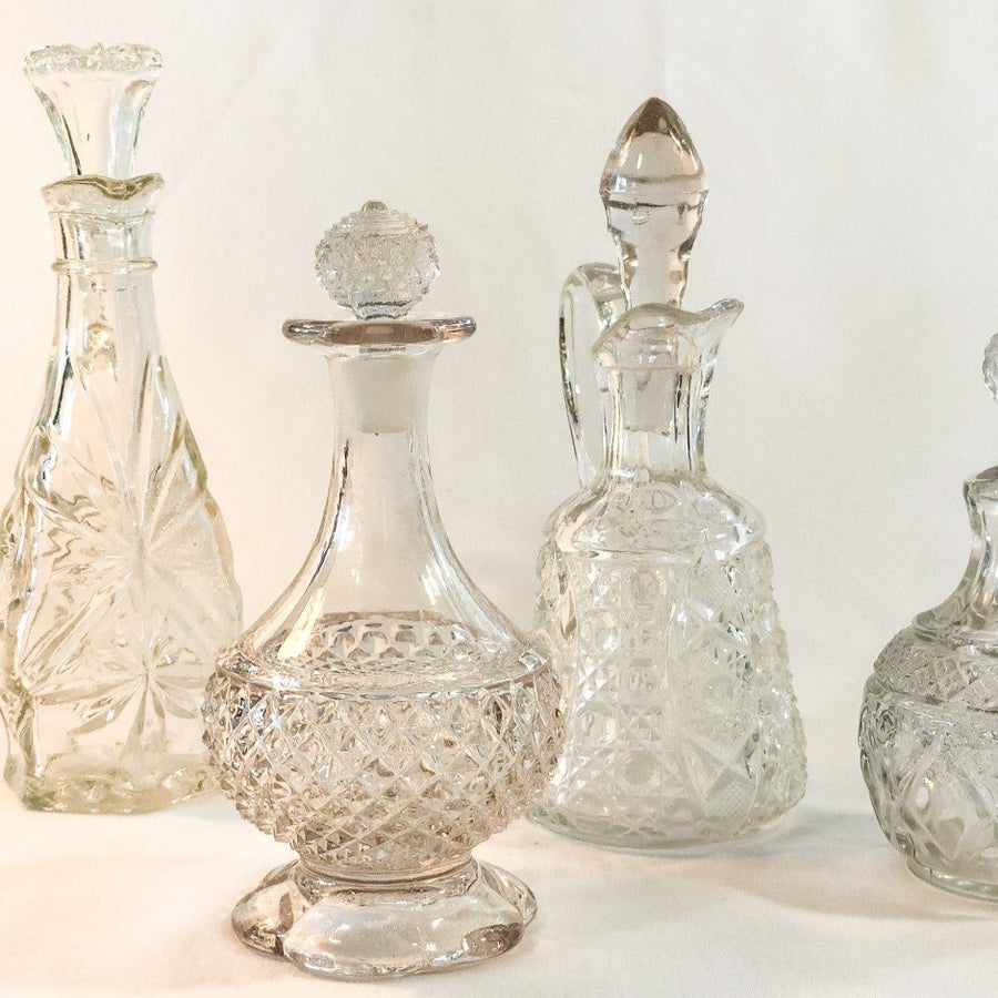 Vintage Diamond Cut Glass Cruet Bottle