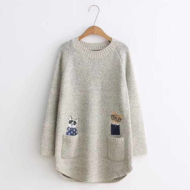 Cat Embroidered Pocket Casual Sweater - petilly.com