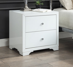 Boulevarde white glass bedside