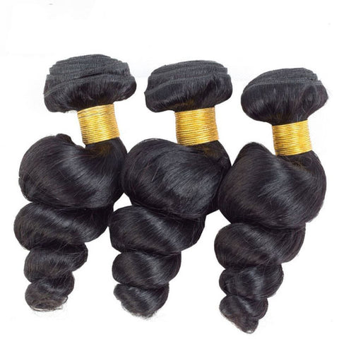 Image of Soul Lady Malaysian Loose Wave Hair Lace Frontal Closure With 3 Bundles Best Virgin Hair