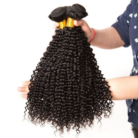 Image of Soul Lady 3 Bundles Kinky Curly With Peruvian Frontal Closure Virgin Human Hair