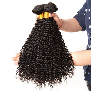 Soul Lady 3 Bundles Kinky Curly With Peruvian Frontal Closure Virgin Human Hair