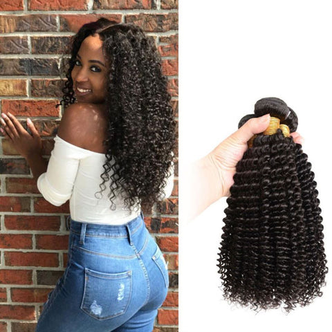 Image of Soul Lady Malaysian 13x4 Kinky Curly Frontal With 3 Bundles Natural Color
