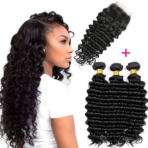 Soul Lady Brazilian Deep Wave Virgin Hair 3 Bundles With Closure