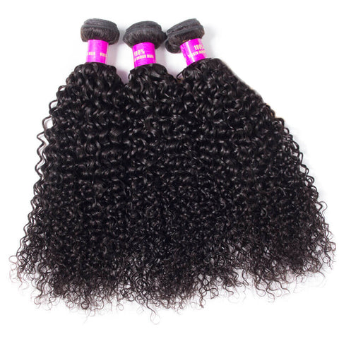 Image of Soul Lady Indian Jerry Curly Hair Free Part 13x4 Lace Frontal Closure With 3 Bundles