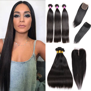 Soul Lady 3 Bundles Brazilian Straight Virgin Hair With 4x4 Lace Closure
