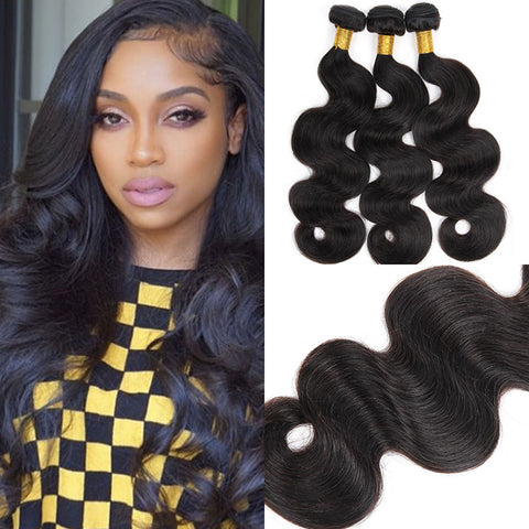 Image of Soul Lady Body Wave 3 Bundles Brazilian Human Hair With 13x4 Lace Frontal
