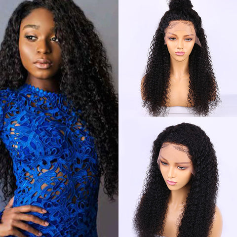 Image of Transparent Lace Front Wig Long Curly Lace Frontal Peruvian Human Hair Wigs Remy  Lace Wig Pre Plucked