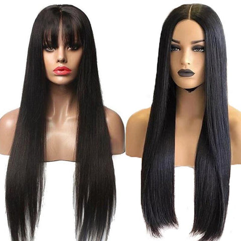 Image of long straight human hair wig with bangs
