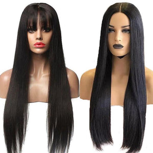long straight human hair wig with bangs