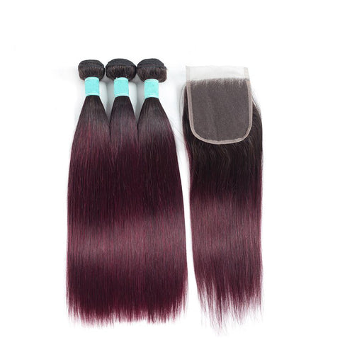 Image of Indian 1b 99j hair with closure