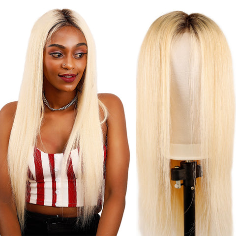 Image of Pre plucked Ombre Blonde Brazilian Straight Lace Front Wig 150% Density