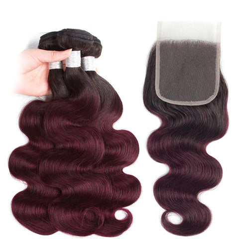 1b 99j Peruvian virgin hair with closure body wave