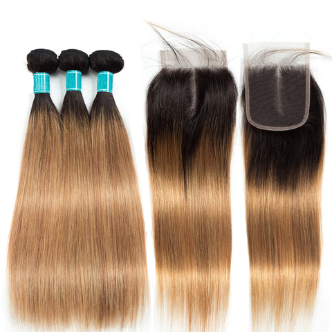 Image of Ombre to Brown Peruvian Hair Extension Bundles With Closure Straight 1B/27