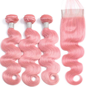 pink hair extensions with 4x4 closure body wave