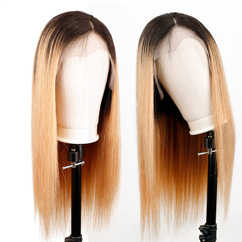 Image of brown ombre hair lace front wig 13x4