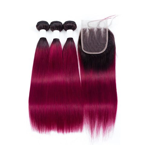 Image of Malaysian Body Wave 4 Bundles With Closure T1b Red/Burg Color Non Remy 5Pcs/lot