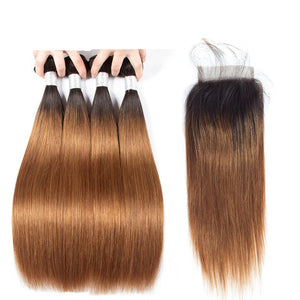 Ombre Brown Brazilian Straight Hair 4 Bundles With 4x4 Lace Closure