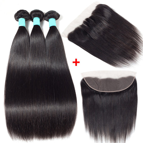 Straight Brazilian Human Hair 3 Pcs with 13x4 Lace Frontal