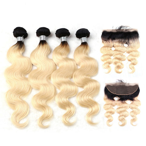 Image of 4 bundles Peruvian remy hair extensions with 13x4 frontal boday wave