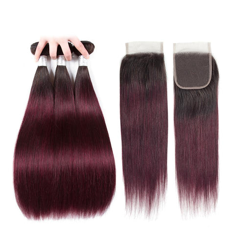 Malaysian ombre hair extensions with closure