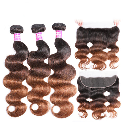 Image of Remy Human T1b/4/30 Hair Extensions Peruvian Body Wave Ombre 3 Bundles With Frontal With Baby Hair