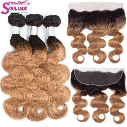 Image of Ombre Human Hair Bundles With Frontal