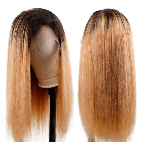 Image of Soul Lady 1B/27 Ombre Peruvian 13x4 Lace Frontal Wigs Straight Human Hair 180% Density