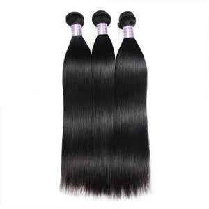 Soul Lady Indian Hair 13x4 Straight Lace Frontal With 3 Bundles Natural Color