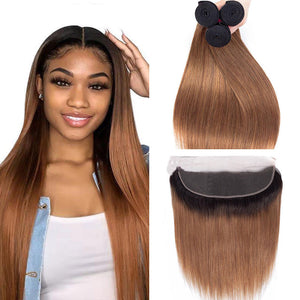 Ombre 1B/30 Brazilian Straight Hair Weave Bundles with 13x4 Lace Frontal