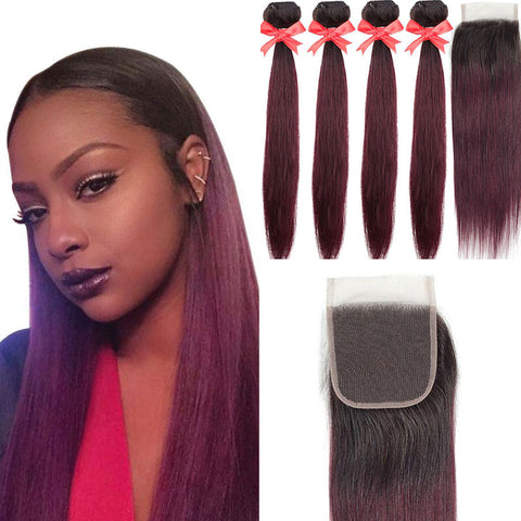 Ombre 1B/99J Peruvian Remy Hair Bundles with 4x4 Closure 5pcs/lot