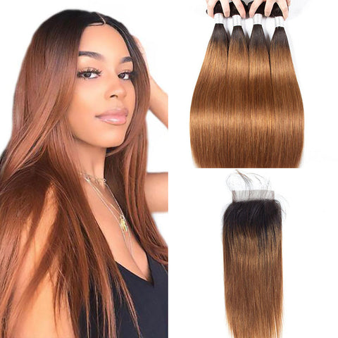 Image of Ombre Brown Brazilian Straight Hair 4 Bundles With 4x4 Lace Closure