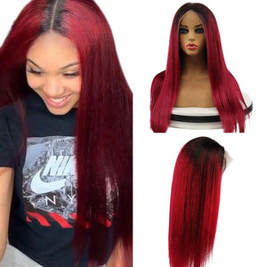 Ombre Burgundy Brazilian Pre Plucked 13x4 lace Front Human Hair Wigs Middle Part