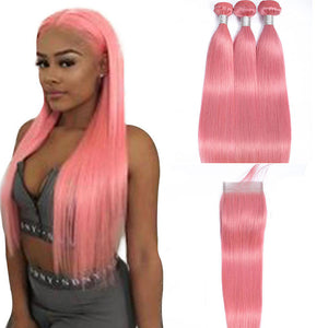 Pink Brazilian Straight Hair Wave 3 Bundles with 4x4 Lace Closure