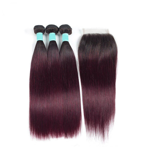 Image of ombre burgundy Indian human hair with 4x4 lace closure
