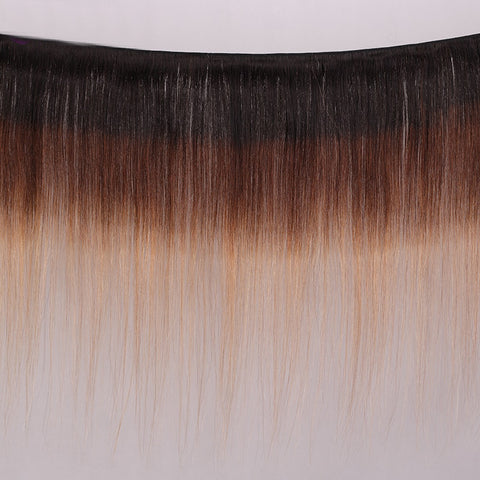 Image of 1b/4/27 Straight Hair Ombre 3 Tones Indian Remy Bundles With Closure 5Pcs/Lot